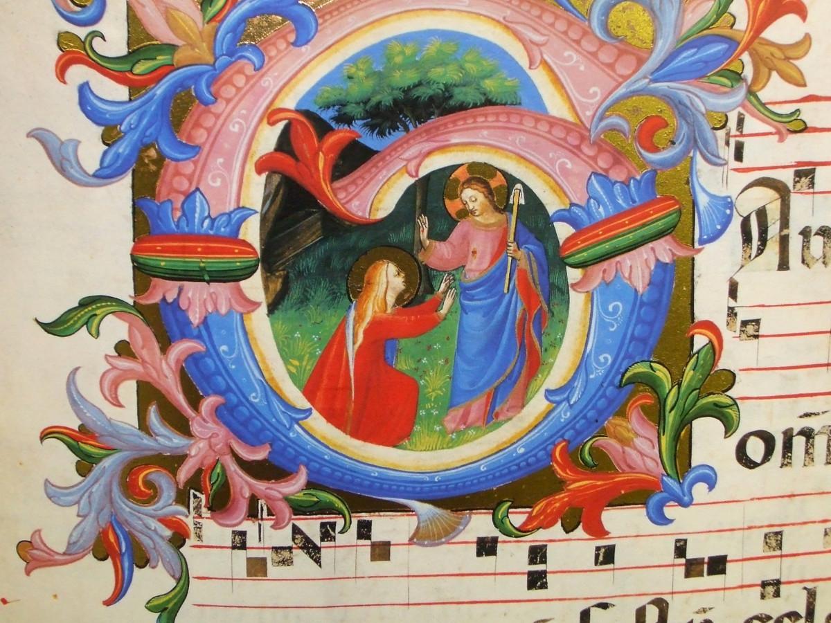 """Beato Angelico Ms558 """"Noli me tangere"""" c. 64 v"""