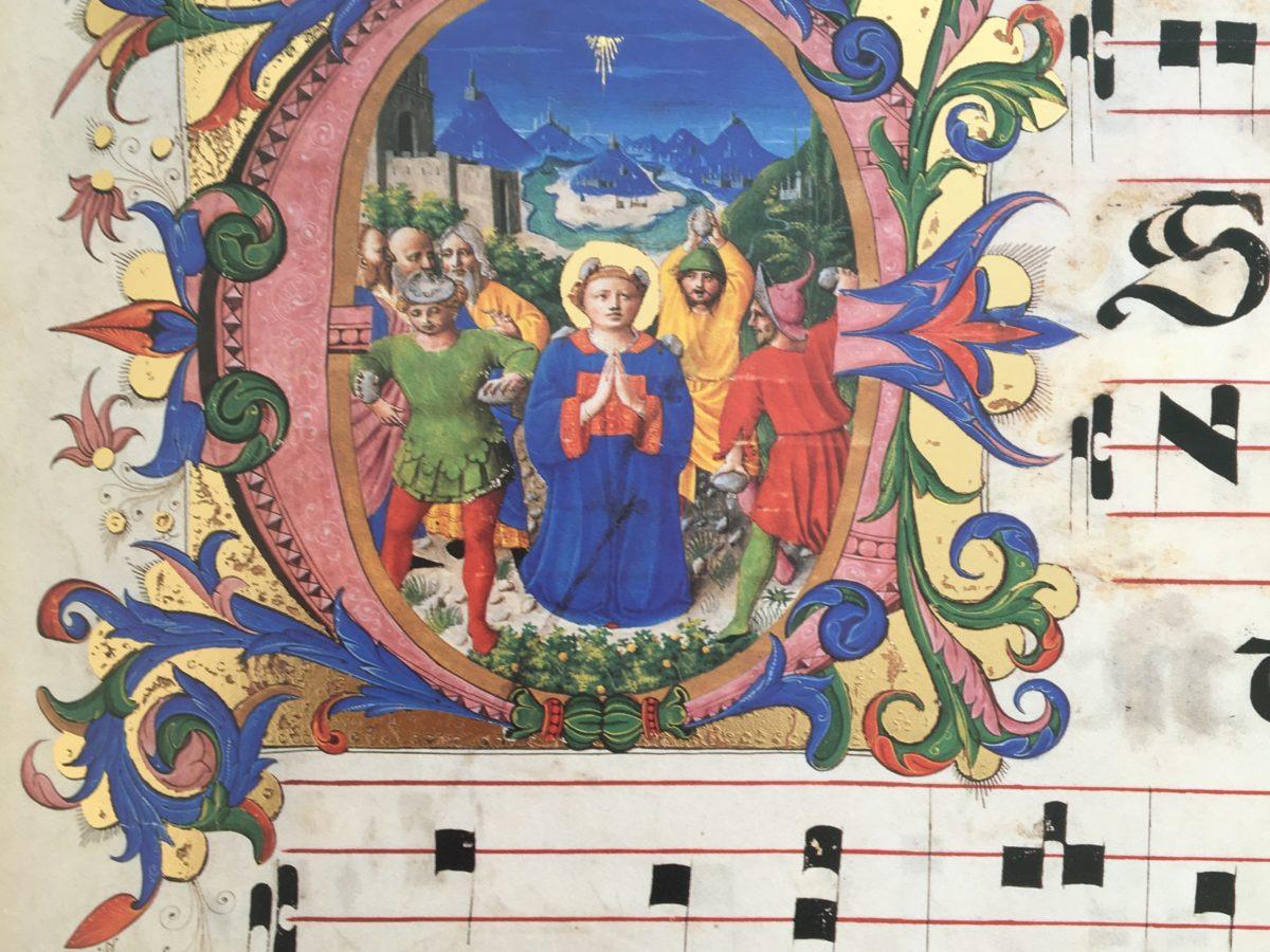 Zanobi Strozzi Ms.515 c 5r Lapidazione di Santo Stefano