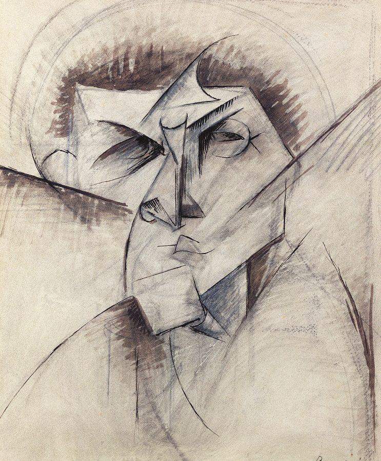 Umberto Boccioni - Studio per la scultura Vuoti e pieni astratti di una testa ( Voglio dare il prolungamento degli oggetti nello spazio) 1912 Londra Estorick Collection