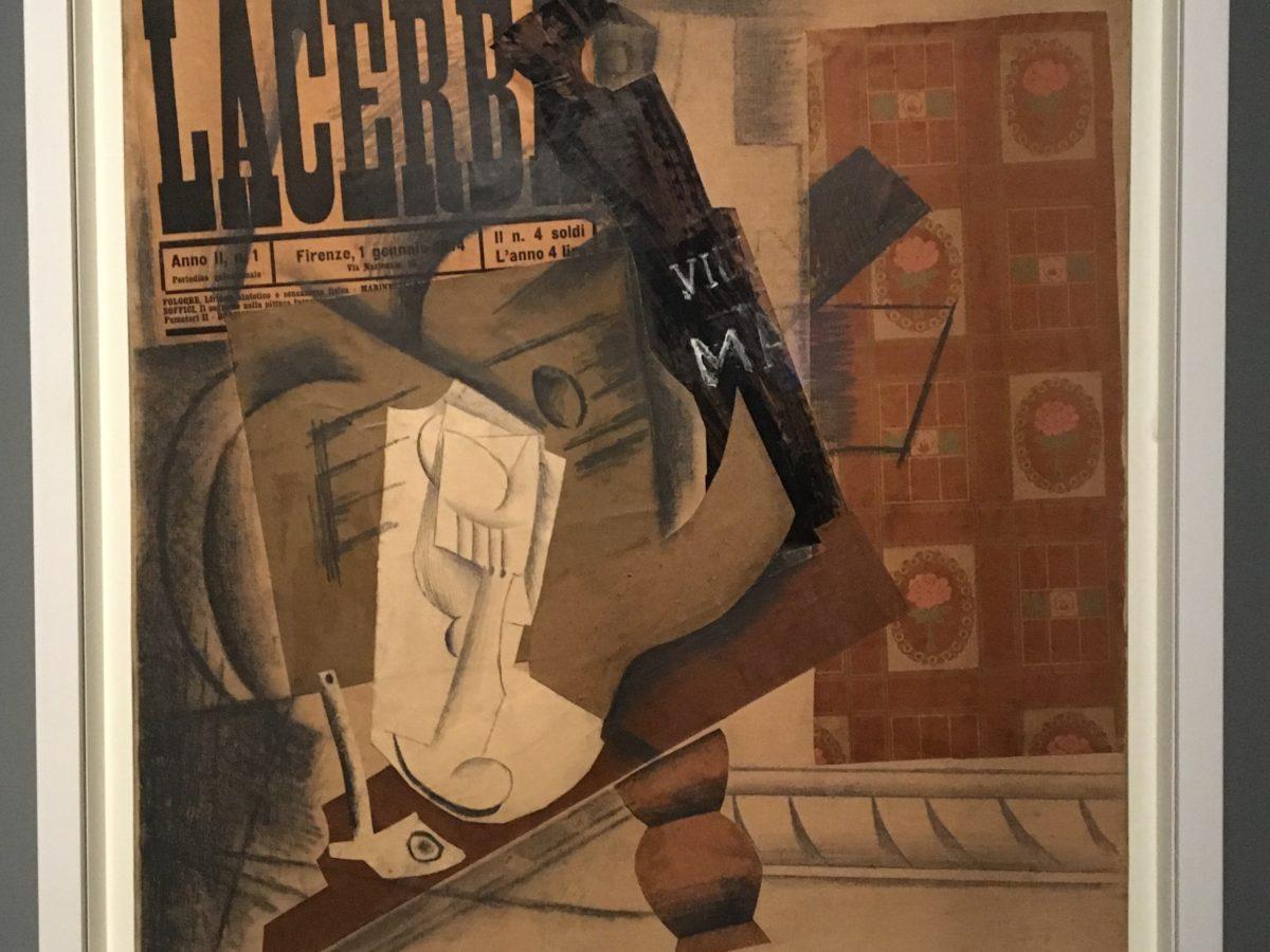Pablo Picasso - Pipa, bicchiere, bottiglia di Vieux Marc e ( Lacerba) 1914 Collezione Peggy Guggenheim, Venezia