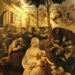 Particolare dell'Adorazione dei Magi, Leonardo, Galleria degli Uffizi